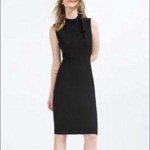 Zara Little Black Sleeveless Dress High Neck Bow